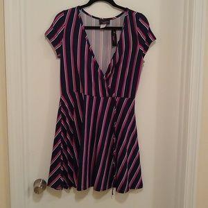 Discreet striped faux wrap dress